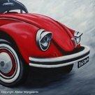 Realistisch schilderij: Rode kever/Red beetle on canvas